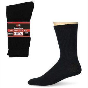 Men's Crew Socks - Black - 6 Pack - Cotton